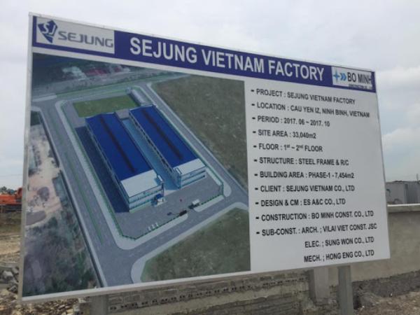 Nhà Đầu Tư Sejung Company Limited Thay Đổi Giấy Chứng Nhận Đăng Ký Đầu Tư Lần 2