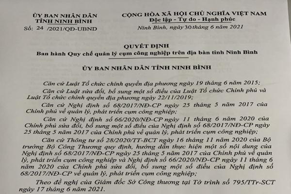 QUYẾT ĐỊNH Ban hành Quy chế quản lý cụm công nghiệp trên địa bàn tỉnh Ninh Bình