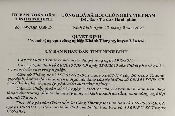 QUYẾT ĐỊNH V/v mở rộng cụm công nghiệp KhánhThượng, huyện Yên Mô